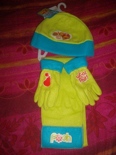 Disney Set von 3 Stück von Winterkleidung Winnie The Pooh / Winnie the Pooh, Hut, Handschuhe und écharppe Turquois