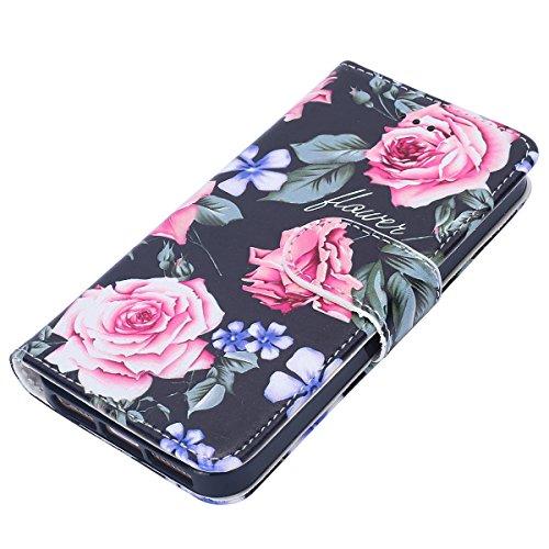 Etsue Case Cover for iPhone 5S/SE,Copertura in Pelle/Leather Cover caso,Hand Embossed Varnish Leather Case,[Chiusura magnetica][assorbimento dello shock][anti-graffio],flip cover case for iPhone 5S/SE Fiori di peonia
