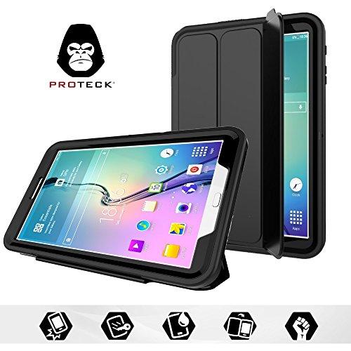 """Coque Samsung Galaxy Tab E 9.6"""", Proteck Etui avec Film de Protection Intégré + Fonction Mise en Veille Automatique + Support/Rabat de Positionnement - Housse Resistante Antichoc pour Tablette Galaxy Tab E 9.6 pouce SM-T560(2015),Silicone- Noir"""