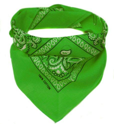 Oramics Bandana Kopftuch Halstuch gemustert in 24 verschiedenen Farben! (hellgrün)
