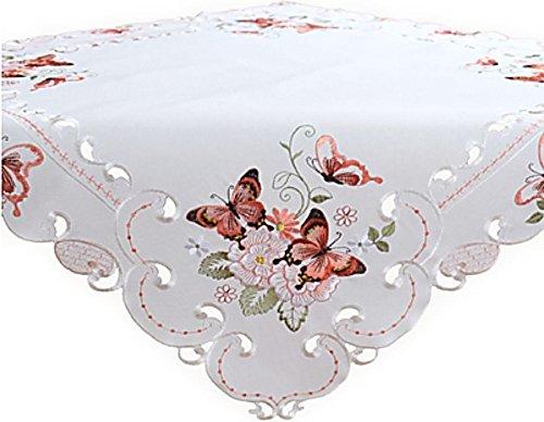Tischdecke 85x85 cm Quadratisch Sekt Schmetterlinge Rot Bunt Gestickt Sommerdecke Aufleger Kaffeedecke Frühling (85 x 85 cm)