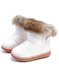 KVbaby Bambine e Ragazze Carino Stivali da Neve Morbide Fodera Calda Stivali Scarpe di Cotone Piatto Pelliccia Stivali