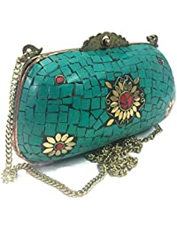 Turquoise Sling Bags,Ethnic Clutch,Sling Bags For Women,Metal Bag,ethnic Tribal Wallet,vintage Purse