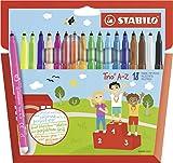 Feutre de coloriage - STABILO Trio A-Z - Étui carton de 18 feutres pointe moyenne - dont 3 couleurs fluo