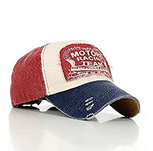 Elwow Hot Red Fashion Distressed Vintage Cotton Baseball
