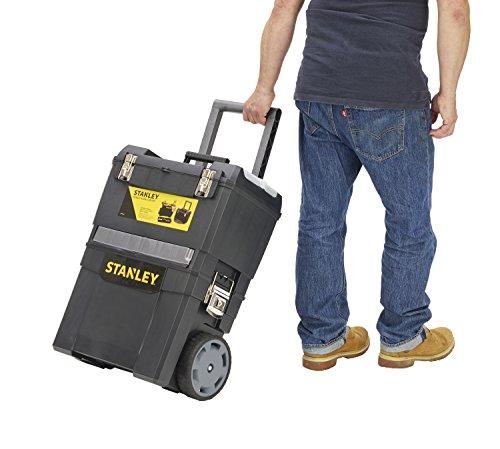 Stanley Rollende Werkstatt / Werkzeugwagen (47.3x30.2x62.7cm, zwei seperat verwendbare Werkzeugboxen, robuster Kunststoff, zwei Einheiten, Metallschließen, Organizer) 1-93-968 - 5