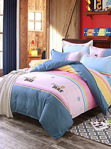 JSDJSUIT Bettwäsche gesetzt 4pcs Bettwäsche Set Vogue Colorblock Fresh Home Gemütliches Bettlaken Set-Full 4St