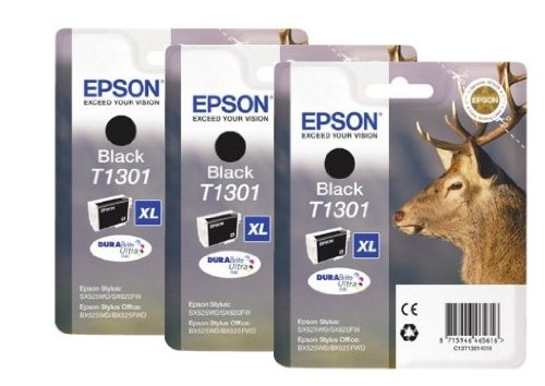 Preisvergleich Produktbild Epson T1301 x3 3x Tintenpatronen Original, schwarz
