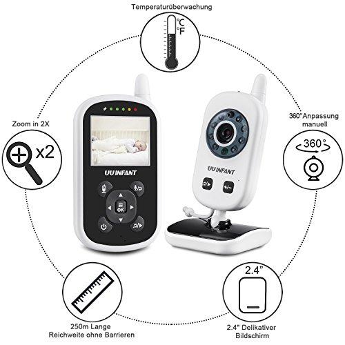 Babyphone mit Kamera Video Baby Monitor Digital, Aktualisierung 2017 Nachtsichtmodus Gegensprechfunktion Temperaturüberwachung Intelligente Kinderfürsorge 250m UU Infant UU24 -