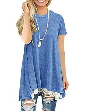 Mujer Camiseta T-Shirt Mini Vestido Verano Encaje Dobladillo Túnica Tops Estival de Manga Corta Casual Ropa Tamaño...