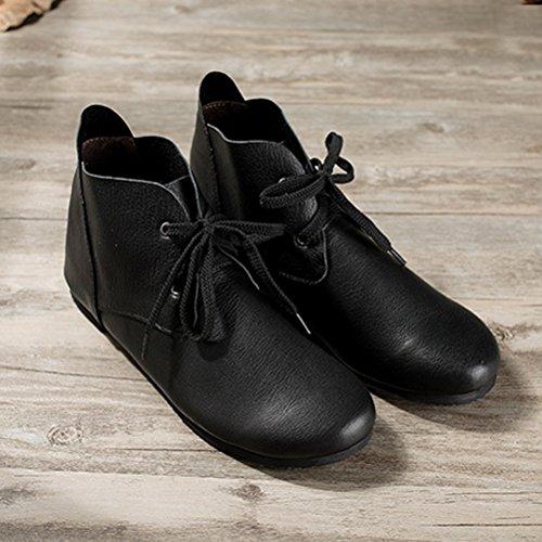 Vogstyle Femme Chaussures Plates en Cuir Plein Couleur Style-2 Noir