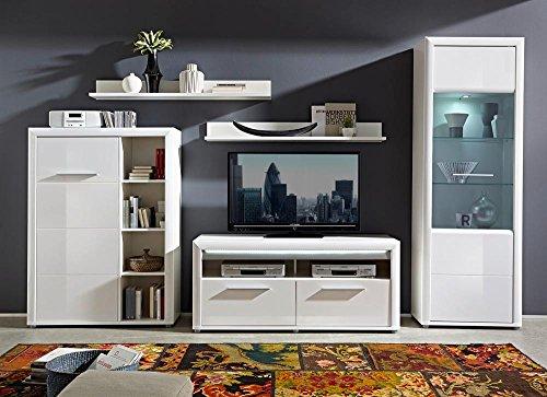 5-tlg. Wohnwand in Hochglanz weiß/Abs. aluminiumfarben, mit LED-Beleuchtung, Stauraumelement, 2 Wandboards, TV-Bank, Vitrine, Gesamt: B/H 338/201 cm
