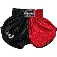 Cortocircuitos 4Fighter Muay Thai kickboxing negro-rojo con aberturas altas y contornos lisos, Talla:XXXL