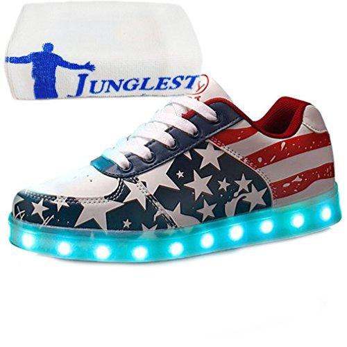 (Présents:petite serviette)JUNGLEST® Haute Qualité Etoile Motif 7 Changement de couleur declairage LED clignotant Unisexe Sn Noir