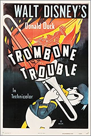 1944 trombone trouble CLASSIC MOVIE POSTER disney's DONALD DUCK 24X36 vintage gem