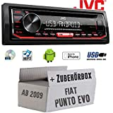 FIAT Punto EVO / 199 - Autoradio Radio JVC KD-R492   CD   MP3   USB   Android   iPhone - Einbauzubehör - Einbauset