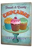 Blechschild XXL Küche frische Cupcakes bunt Streusel