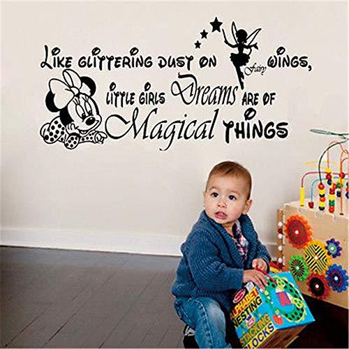 Wandtattoo Wohnzimmer Mickey Minnie Mouse Wandkunst Aufkleber Aufkleber Wandkunst Aufkleber Diy Little Girls Dreams Zitat magische Dinge Minnie Mouse Wandaufkleber Mädchen Schlafzimmer Dekor (Wand An Zitat Der Spiegel Magische)