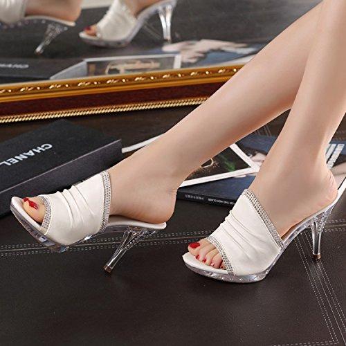 ZYUSHIZ Synthetischer Diamant coole Hausschuhe Frau wilde High-Heel Leder Sandalen Hausschuhe 38