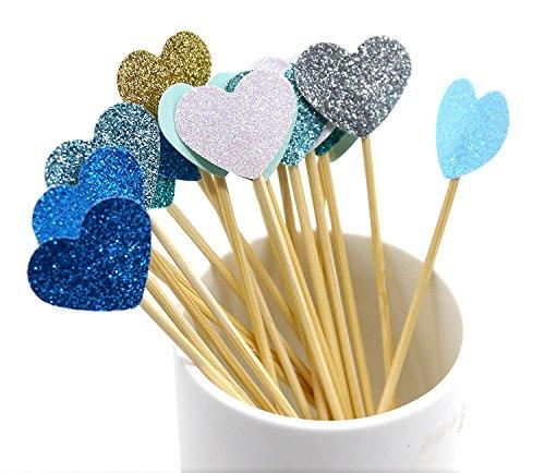 (Jakerbing Blue Heart Kuchen Toppers Handmade Peach Herz Hochzeit Dekoration Party Supplies Cupcake Toppers)