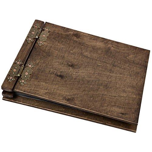 dickes Fotoalbum aus Holz mit 50 schwarzen 300 g Innenseiten Fotoalben mit Mittelsteg
