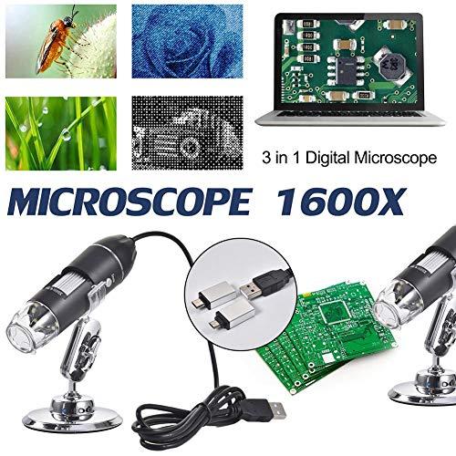 3-in-1 Digitales Mikroskop, Megapixel, 500 x 1000 x 1600 x 8 LEDs, digitales USB-Mikroskop, Elektronisches Stereo, USB-Endoskop, Kamera, unterstützt Windows und Android-Handys