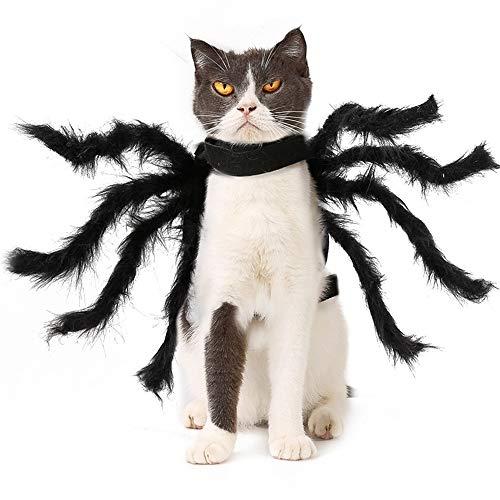 Halloween Pet Spider Kleidung lustige Welpen Katze Terror Simulation Plüsch Spinne Cosplay acht Beine transformiert Kleidungsstück Hund Haustier Zubehör (Size : S)