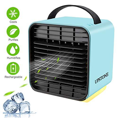 Portable Öl-filter (Mini Luftkühler USB Ventilator mit Wasserkühlung Mobile Klimaanlage Leise Luftbefeuchter Luftreiniger, mit Nachtlicht und Ladefunktion 3 Geschwindigkeit Kann Ätherisches Öl Hinzufügen für Büro Hause)