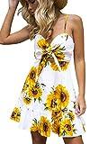 Angashion Women's Summer Dress Sleeveless Swing Dress Beach Dress Floral Print Dress Straps A-Line Dress Weiß S