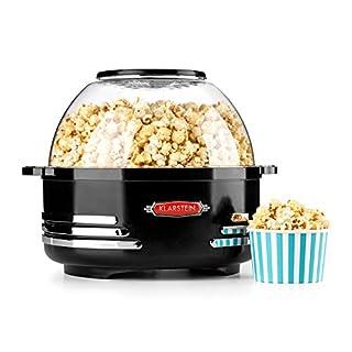 Klarstein Couchpotato • Popcornmaschine • Popcorn-Maker • Popcorn-Bereiter • Retro-Design • 5,2 Liter • Dosierlöffel • Kurze Aufheizzeit • Halogen-Technik • Heizfläche antihaftbeschichtet • schwarz