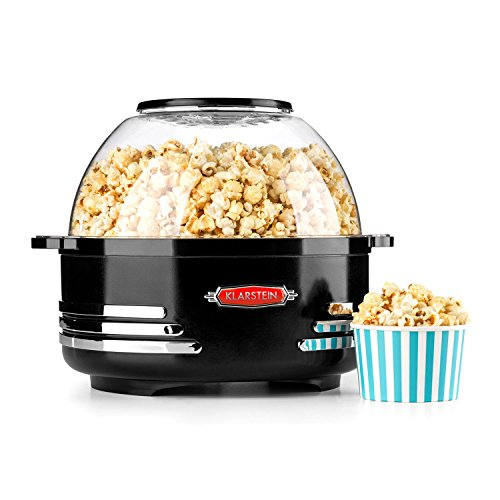 Klarstein Couchpotato Popcorn Machine • Electric Popcorn Maker • 1000W • Short War-Up Time & Popcorn Yield • Non-Stick Coated Heating Surface • Pouring Function • Anti-Stick Heating Surface • Black