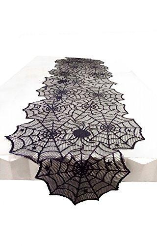 """Pantipinky Black Lace Tischdecke Overlay mit Spinnennetz und Matte für Halloween Party, Ostern, Kamin und Mantel Cover Dekoration (74""""x18"""")"""