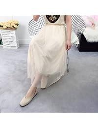 MEI Falda de medio cuerpo falda de malla falda vestidos Falda de hadas plisada Falda de