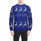 SEWORLD Weihnachten Christmas Herren Abend Party Männer Weihnachtskostüm Sankt Drucken Urlaub Humor Langarm T-Shirt Xmas Top(X1-4-blau,EU-52/CN-XL)