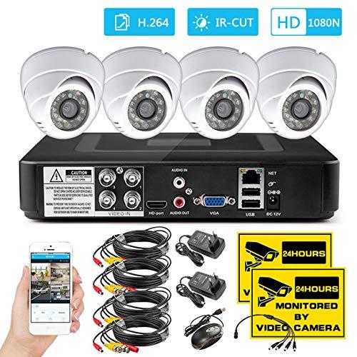 Vier Ch Home Security CCTV Kamera System 1200tvl Indoor Dvr Kit Überwachungskamera System Nachtsicht App Monitor Kamera Porzellan weiß - Dvr-system Kit