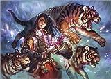 Posterlounge Leinwandbild 130 x 90 cm: Weiblicher Samurai mit Tigern von Jasmin Eilers - fertiges Wandbild, Bild auf Keilrahmen, Fertigbild auf Echter Leinwand, Leinwanddruck