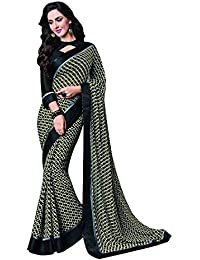 Vishal Prints Black Printed Saree With Fancy Black Satin Border With Blouse Piece