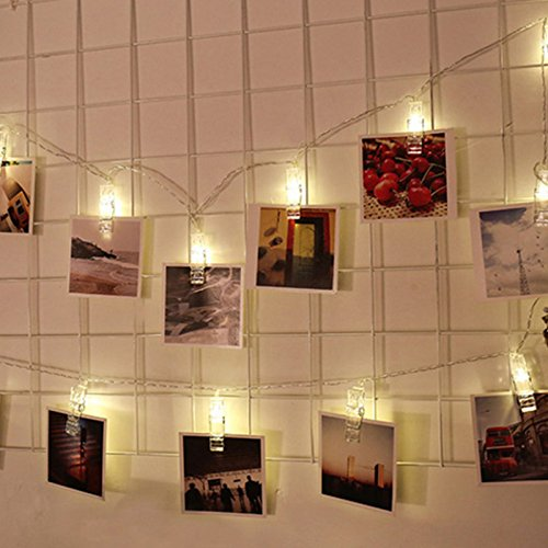 Portafoto clip string lights fairy light batteria a 10 led clip per camerette per matrimoni decorazione camera da letto