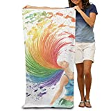 Best Royal Black Hair Products - Bath Towel Girl Colorful Beautiful Watercolor Hair Patterned Review