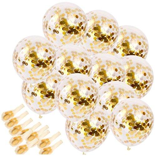 Globos de confeti dorados - Globos de fiesta de látex de 25 piezas con puntos de confeti de papel dorado, globos de fiesta de látex de 12 pulgadas para bodas de fiestas Decoración de cumpleaños