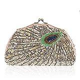 Yubusiness Vintage Peacock Abendtasche Pailletten Perlen Clutch Hochzeit Cocktail Lounge Schulter Handtasche (Champagner)