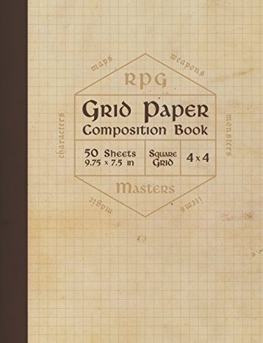 RPG Grid Paper Composition Book: Blank Quad Ruled Graph Paper for Role Playing Games (50 sheets, thick 60 lb cream paper, 1/4 inch squares, 9.75 x 7.5)