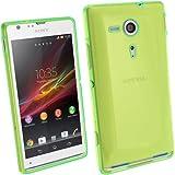 igadgitz Teñido Verde Case TPU Gel Funda Cover Carcasa para Sony Xperia SP Android Smartphone + Protector de pantalla