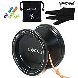 Pro Responsive Yoyo für Anfänger MAGICYOYO V6 LOCUS SPACE Matt Metal Jojo mit Pouch Handschuh 5 Strings (Schwarz)