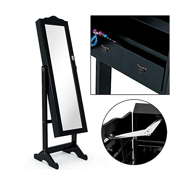 Deuba Armoire à Bijoux Moderne avec Miroir et tiroirs Blanc ou Noir  Rangement Accessoires