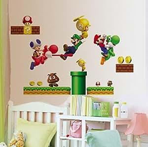 Stickers muraux pour chambre d'enfant Motif lego :  Cartoon Sticker Autocollant mural Super Mario Bros PVC Sticker vinyle amovible pour chambre i8