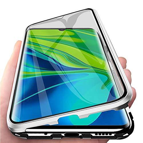 Kompatibel mit Xiaomi Mi Note 10 Hülle, Schutzhülle Magnetische Adsorption Metallrahmen und Panzerglas Handyhülle Ultra Slim Dünn Durchsichtig Transparent 360 Grad Full Body Protection - Silber