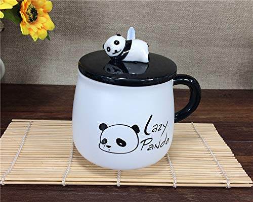 Satyam Kraft (Pack of 1) Panda Ceramic Mug with Ceramic Lid and Spoon for Diwali Gift, Gift -300 ML (Lazy Panda)