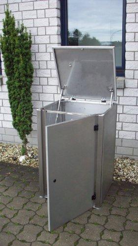 Mülltonnenbox Edelstahl, Modell Eleganza G, 120 Liter, in Weiß RAL 9016 (Pulverbeschichtet) - 2