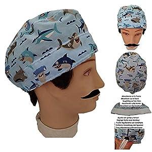 OP Haube Haie kurze haare Chirurg Zahnarzt Tierarzt Kochen Saugfähiges Handtuch auf der Stirn. Nach Ihren Wünschen einstellbar